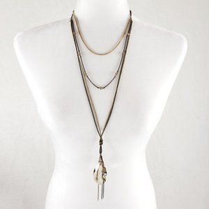 Amber jewel layered necklace bronze gold chain
